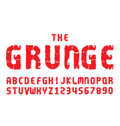 graunge fonts alphabet letter numbers vector image