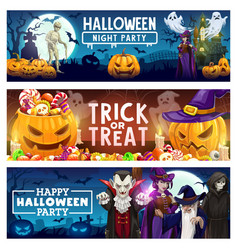 halloween pumpkins candies ghost bats and witch vector image