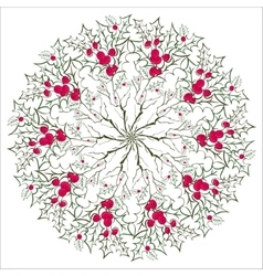 Hand drawing floral holly mandala zentangle vector image