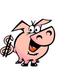 Hand-drawn an dollar pig vector