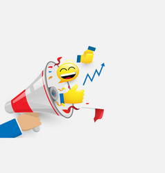 hand holding megaphone with emoticons success vector image