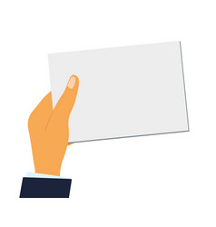 hand holds a blank sheet paper or a business vector image