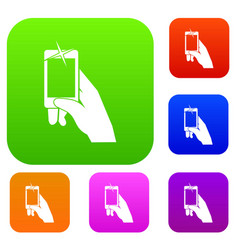Hand taking pictures on cell phone set collection vector