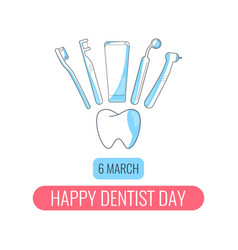 Happy dentist day card vector