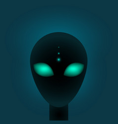 head alien with big green eyes sci-fi or vector image