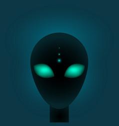 Head alien with big green eyes sci-fi vector