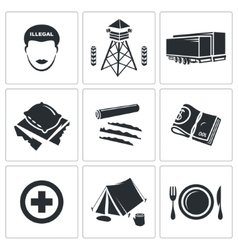 Illegal migration icons set vector
