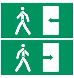 image of fire exit sign the person walks towards vector image