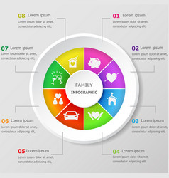 Infographic design template with family icons vector