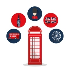 Isolated london telephone and icon set design vector image