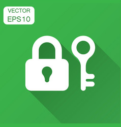 key with padlock icon in flat style access login vector image