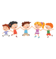 Kids boys and girls plays and jump on white vector