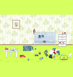 Kids untidy and messy room child scattered toys vector