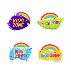 Kids zone emblem colorful cartoon set children vector