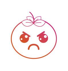 Line kawaii cute angry vegetable vector
