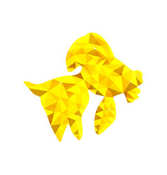 low poly gold fish vector image