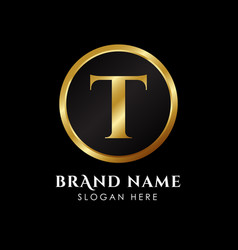 Luxury letter t logo template in gold color royal vector