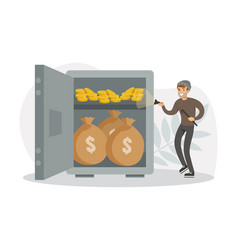 male burglars stealing money from safe thief vector image