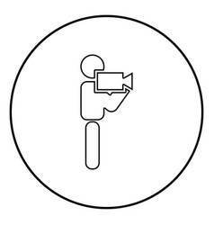 man with video camera stick icon black color in vector image