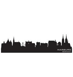 Marburg germany skyline detailed silhouette vector