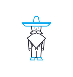 mexican national clothes linear icon concept vector image