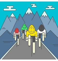 modern cyclists on road vector image