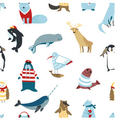 north animals birds and fish seamless pattern vector image