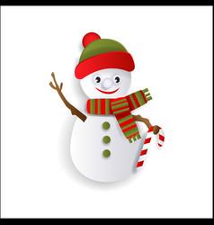 paper cut snowman christmas decoration element vector image
