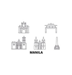 Philippines manila line travel skyline set vector
