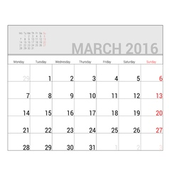 Planners for 2016 march vector