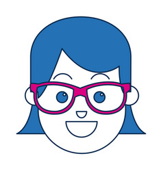 Portrait of blue hair woman character face vector