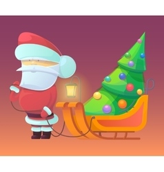 Santa Claus with firtree on vector