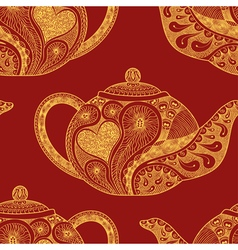 Seamless pattern made patterned teapots vector
