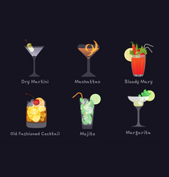 set alcohol bar drinks - mojito vector image