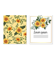 Set card with sunflowers plants and branches vector