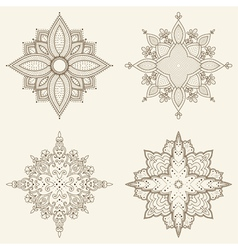 Set of four mandalas Beautiful hand drawn flowers vector