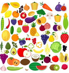 Set of fruits and vegetablesorganic food icons ve vector