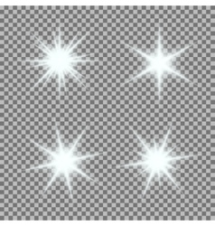 set of glowing light bursts with sparkles vector image