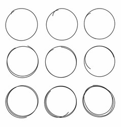 Set of hand drawn scribble circles isolated vector
