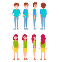 Set of men and woman front back and side view vector