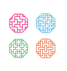 set of octagon korean pattern window frame vector image