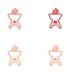Set of stickers american bbq on white background vector