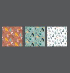 set three cute seamless pattern vector image
