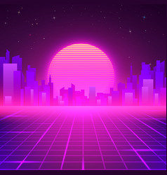 Silhouetted night city on skyline 80s retro vector