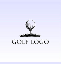 simple retro vintage ball tee grass golf sport vector image