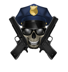 skull with sunglasses in a police cap and pistol vector image