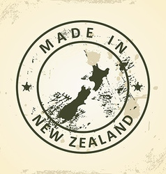 Stamp with map of New Zealand vector image