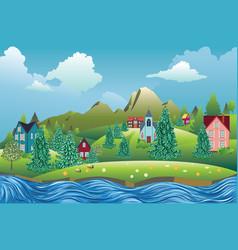 Summer village scene vector