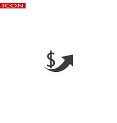 symbol icon logo dollar increase with black circle vector image