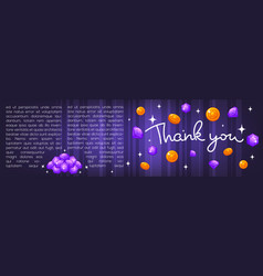 thank you lettering coins and diamonds template vector image